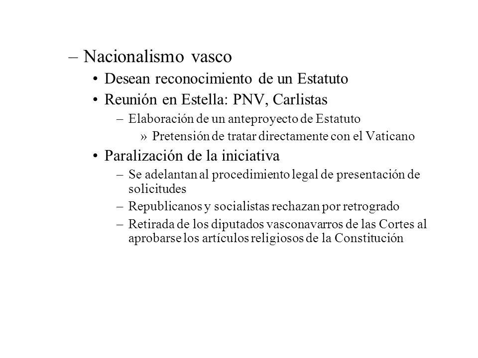 –Nacionalismo vasco Desean reconocimiento de un Estatuto Reunión en Estella: PNV, Carlistas –Elaboración de un anteproyecto de Estatuto »Pretensión de