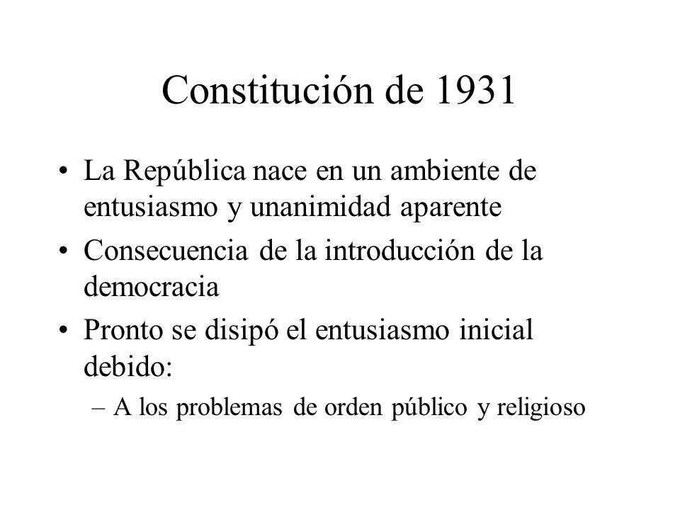 Constitución de 1931 La República nace en un ambiente de entusiasmo y unanimidad aparente Consecuencia de la introducción de la democracia Pronto se d