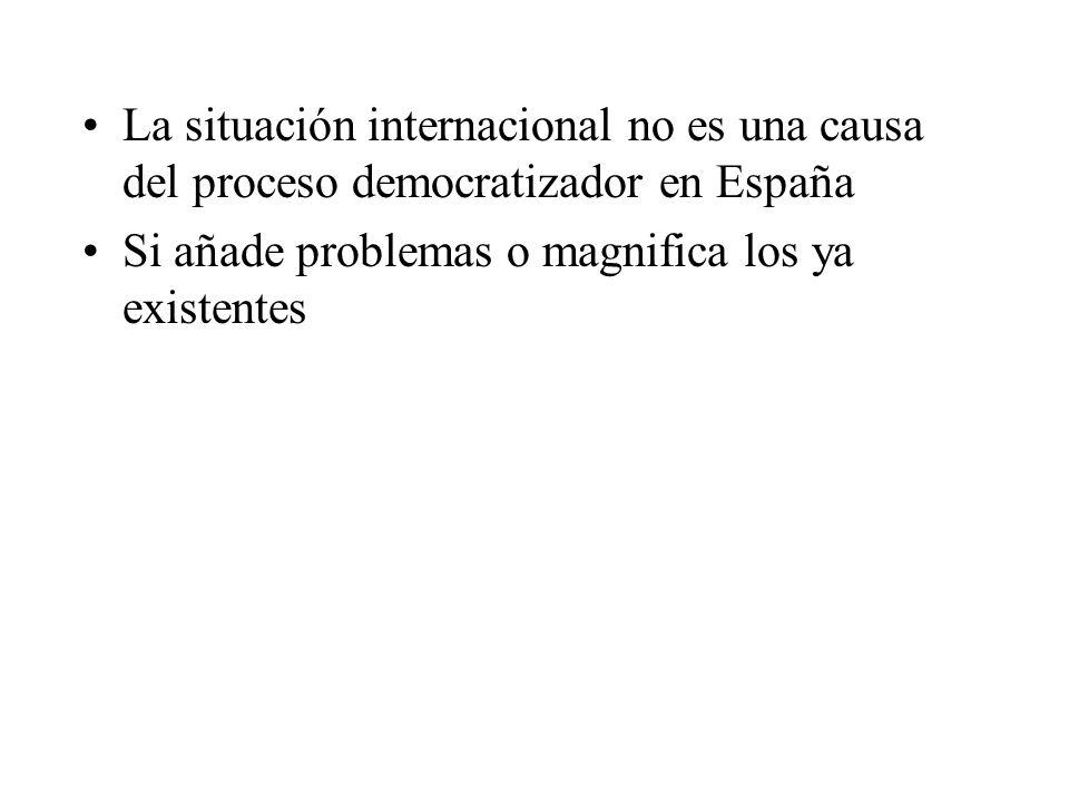 La situación internacional no es una causa del proceso democratizador en España Si añade problemas o magnifica los ya existentes