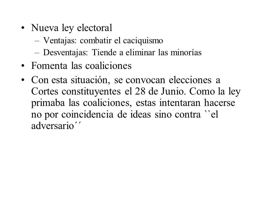 Nueva ley electoral –Ventajas: combatir el caciquismo –Desventajas: Tiende a eliminar las minorías Fomenta las coaliciones Con esta situación, se conv