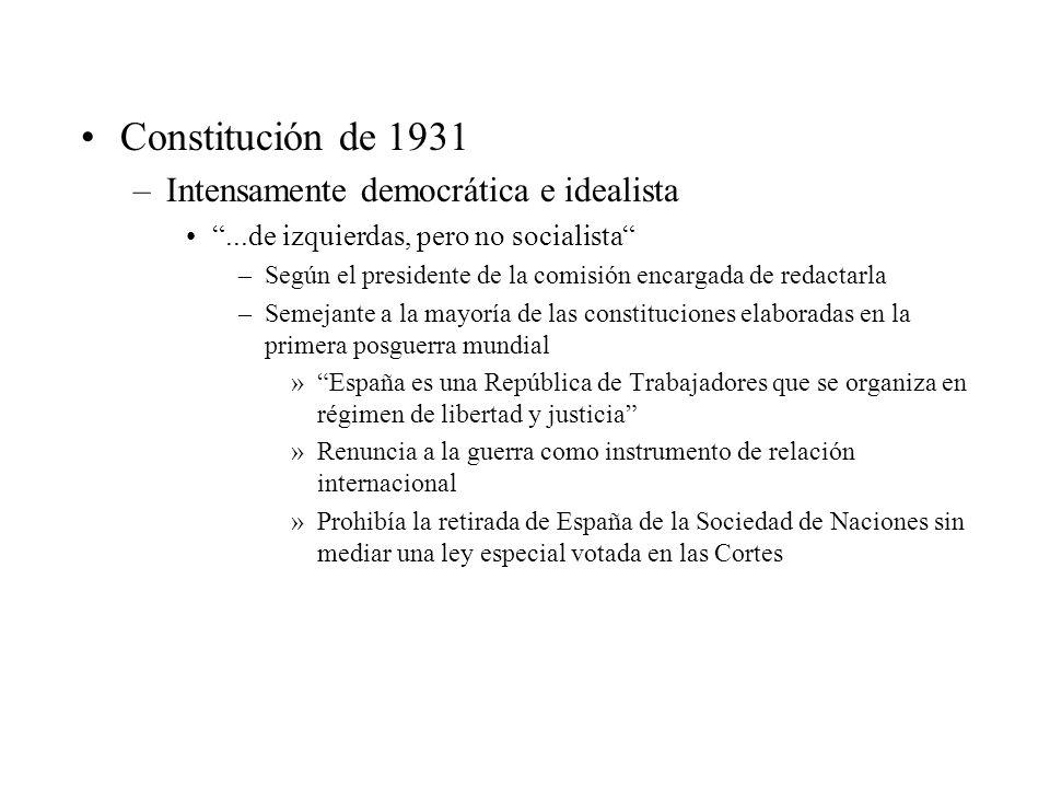 Constitución de 1931 –Intensamente democrática e idealista...de izquierdas, pero no socialista –Según el presidente de la comisión encargada de redact