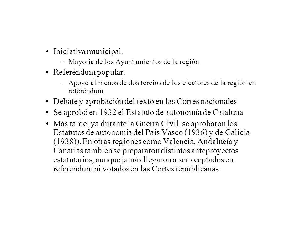 Iniciativa municipal. –Mayoría de los Ayuntamientos de la región Referéndum popular. –Apoyo al menos de dos tercios de los electores de la región en r