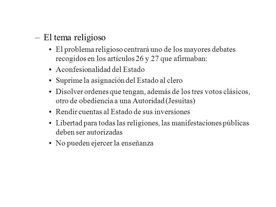 –El tema religioso El problema religioso centrará uno de los mayores debates recogidos en los artículos 26 y 27 que afirmaban: Aconfesionalidad del Es