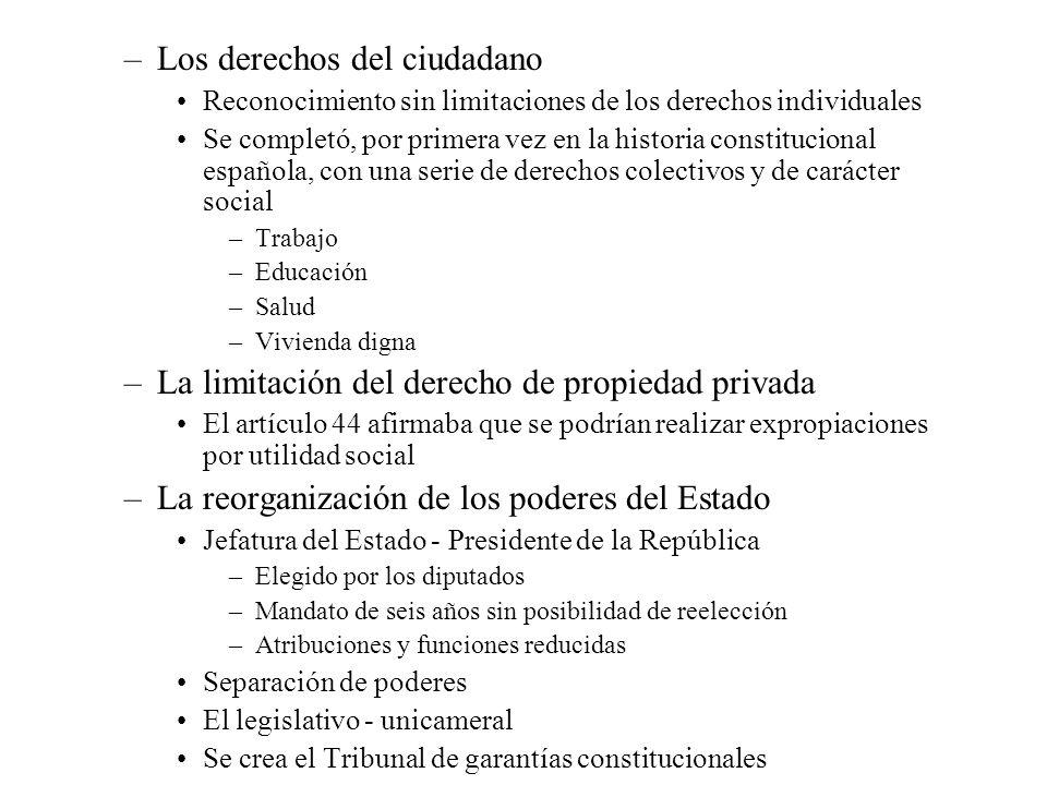 –Los derechos del ciudadano Reconocimiento sin limitaciones de los derechos individuales Se completó, por primera vez en la historia constitucional es
