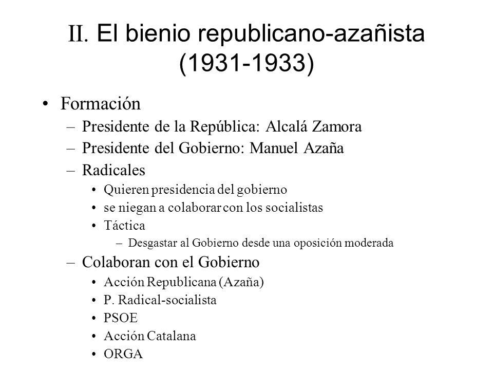 II. El bienio republicano-azañista (1931-1933) Formación –Presidente de la República: Alcalá Zamora –Presidente del Gobierno: Manuel Azaña –Radicales