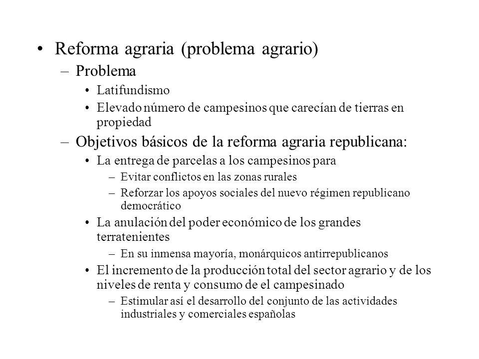 Reforma agraria (problema agrario) –Problema Latifundismo Elevado número de campesinos que carecían de tierras en propiedad –Objetivos básicos de la r