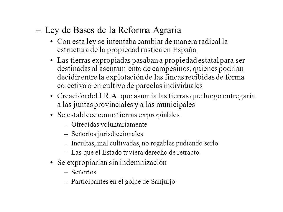 –Ley de Bases de la Reforma Agraria Con esta ley se intentaba cambiar de manera radical la estructura de la propiedad rústica en España Las tierras ex