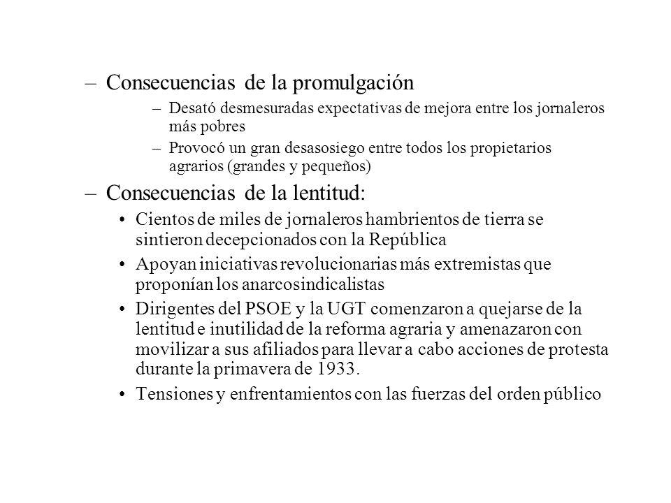 –Consecuencias de la promulgación –Desató desmesuradas expectativas de mejora entre los jornaleros más pobres –Provocó un gran desasosiego entre todos