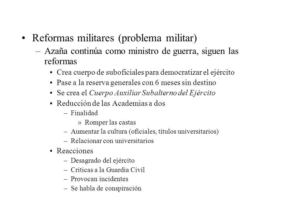 Reformas militares (problema militar) –Azaña continúa como ministro de guerra, siguen las reformas Crea cuerpo de suboficiales para democratizar el ej