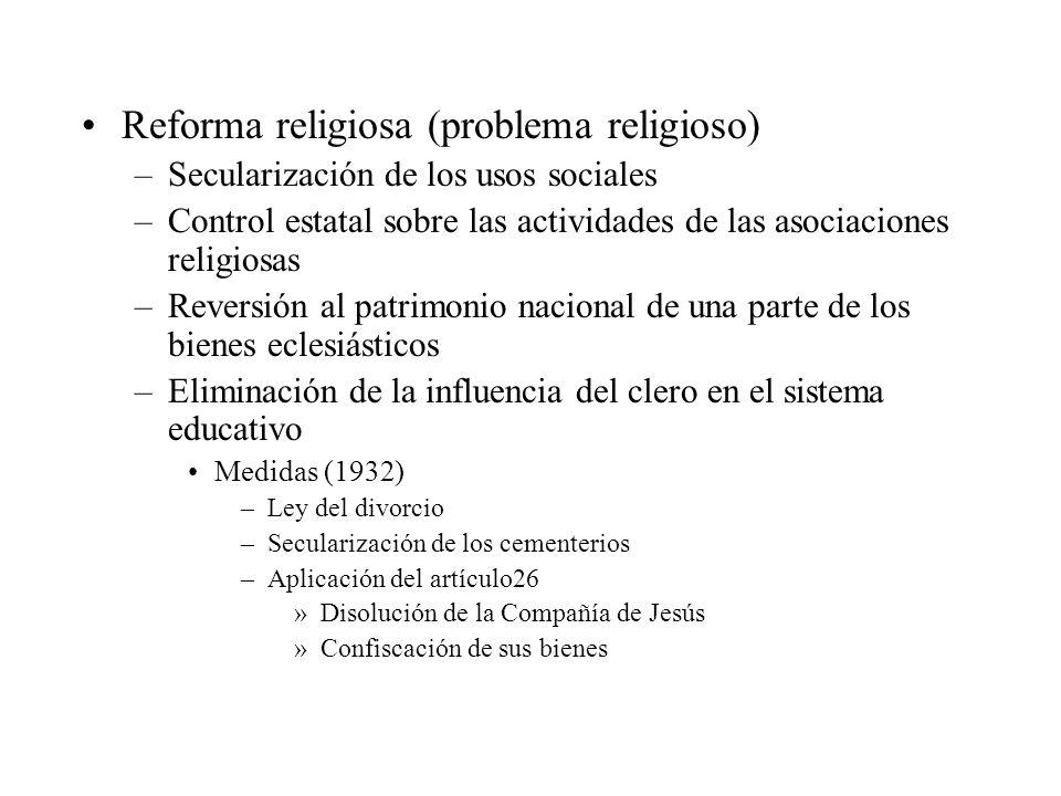 Reforma religiosa (problema religioso) –Secularización de los usos sociales –Control estatal sobre las actividades de las asociaciones religiosas –Rev