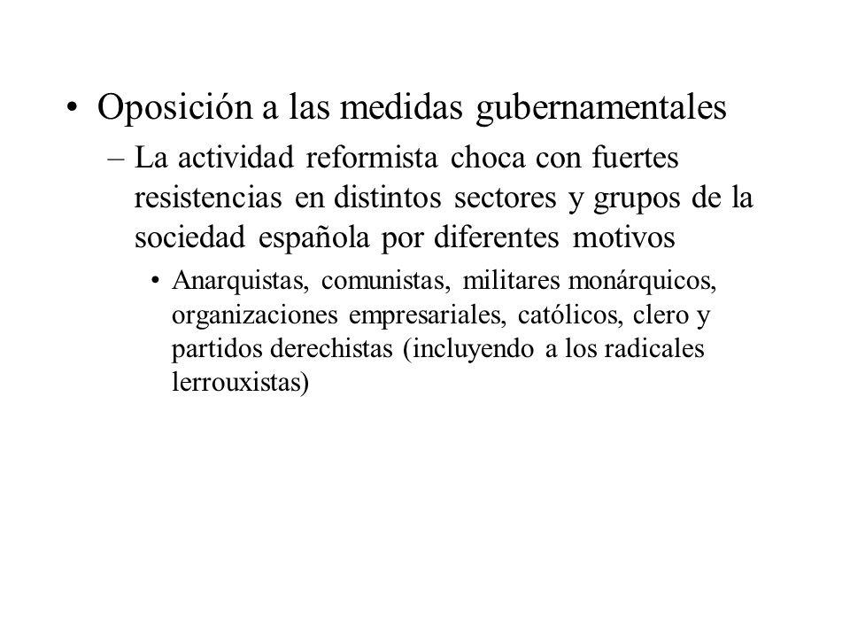 Oposición a las medidas gubernamentales –La actividad reformista choca con fuertes resistencias en distintos sectores y grupos de la sociedad española