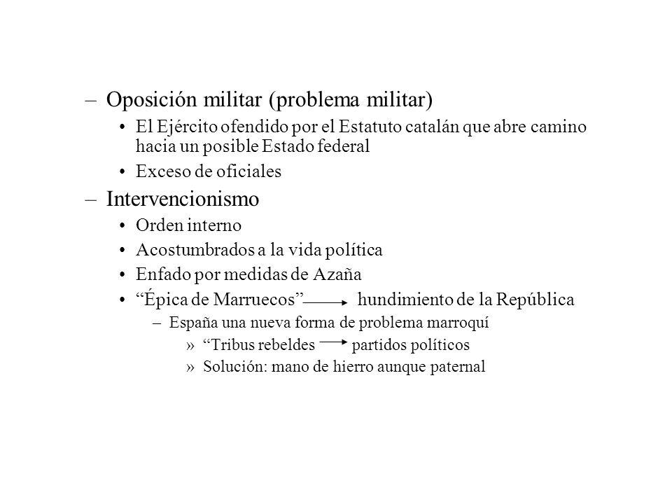 –Oposición militar (problema militar) El Ejército ofendido por el Estatuto catalán que abre camino hacia un posible Estado federal Exceso de oficiales