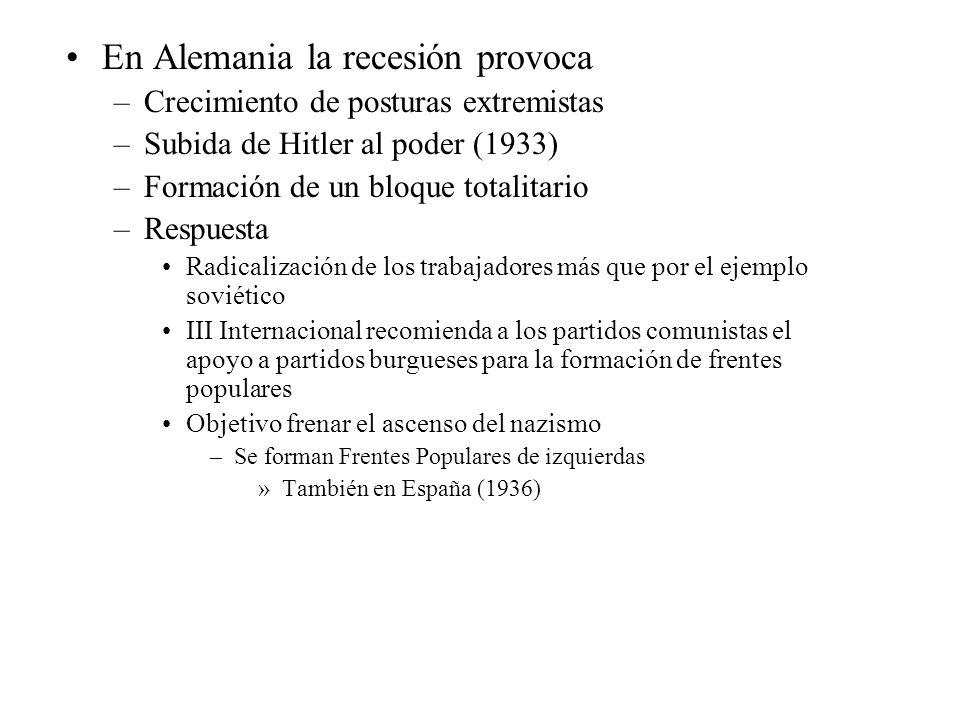 En Alemania la recesión provoca –Crecimiento de posturas extremistas –Subida de Hitler al poder (1933) –Formación de un bloque totalitario –Respuesta