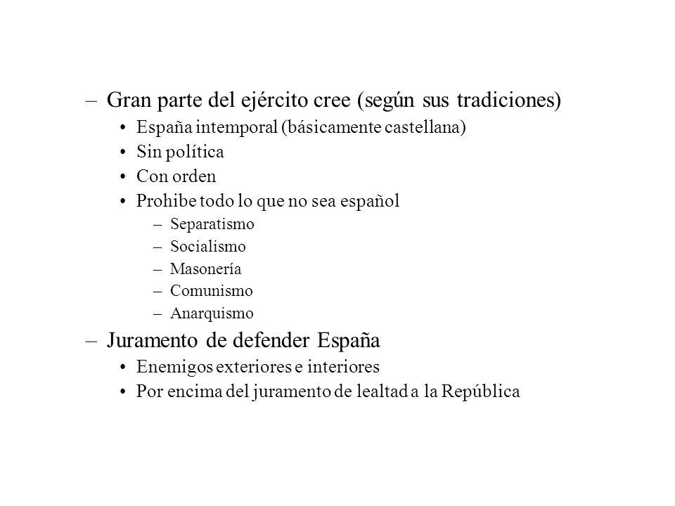 –Gran parte del ejército cree (según sus tradiciones) España intemporal (básicamente castellana) Sin política Con orden Prohibe todo lo que no sea esp