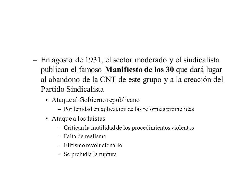 –En agosto de 1931, el sector moderado y el sindicalista publican el famoso Manifiesto de los 30 que dará lugar al abandono de la CNT de este grupo y