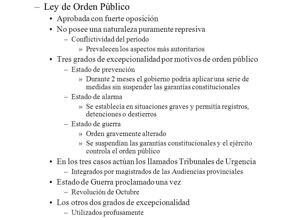–Ley de Orden Público Aprobada con fuerte oposición No posee una naturaleza puramente represiva –Conflictividad del período »Prevalecen los aspectos m