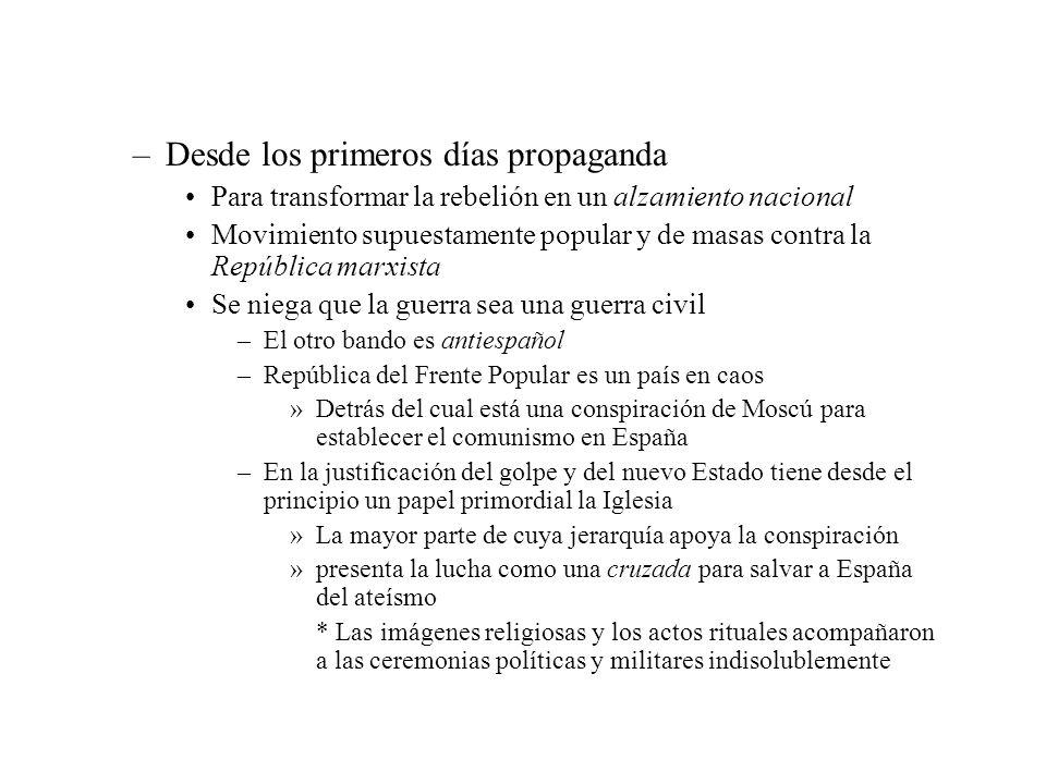 –Desde los primeros días propaganda Para transformar la rebelión en un alzamiento nacional Movimiento supuestamente popular y de masas contra la Repúb
