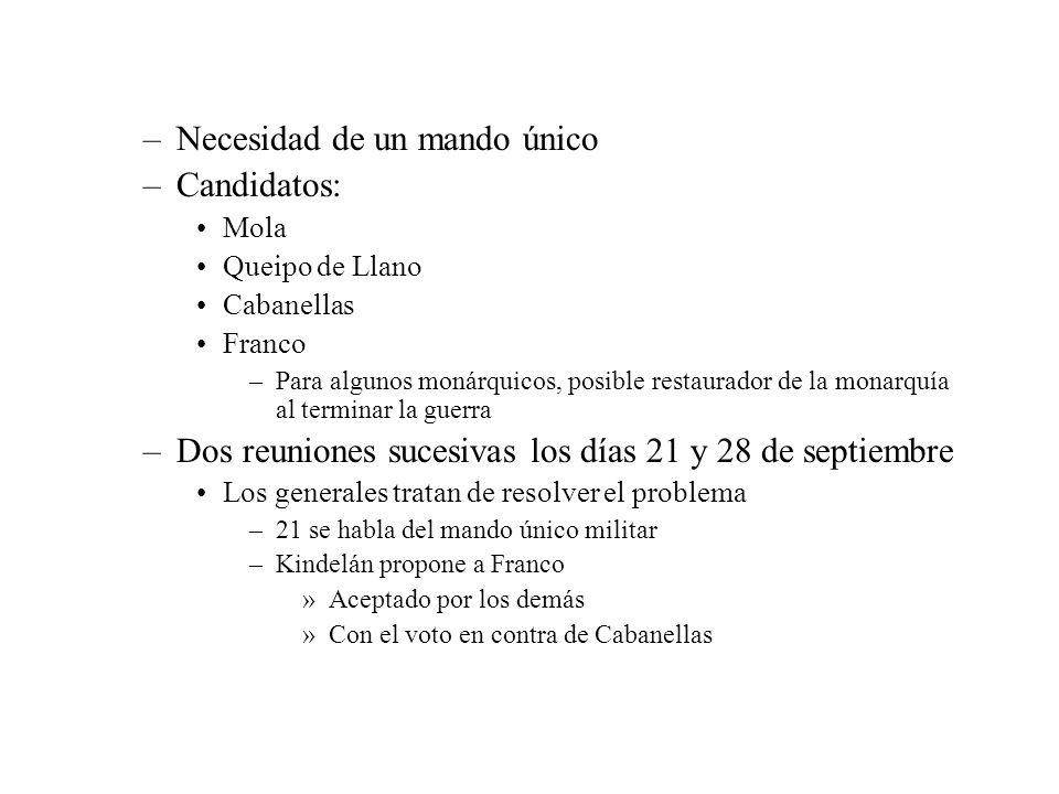 –Necesidad de un mando único –Candidatos: Mola Queipo de Llano Cabanellas Franco –Para algunos monárquicos, posible restaurador de la monarquía al ter