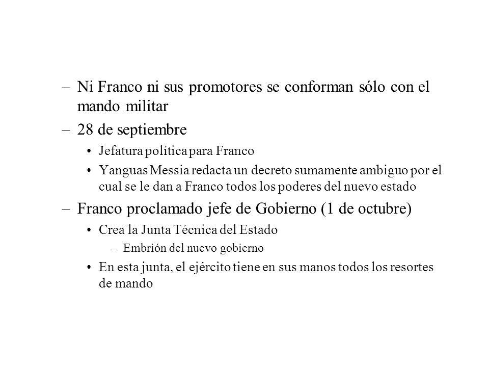 –Ni Franco ni sus promotores se conforman sólo con el mando militar –28 de septiembre Jefatura política para Franco Yanguas Messia redacta un decreto