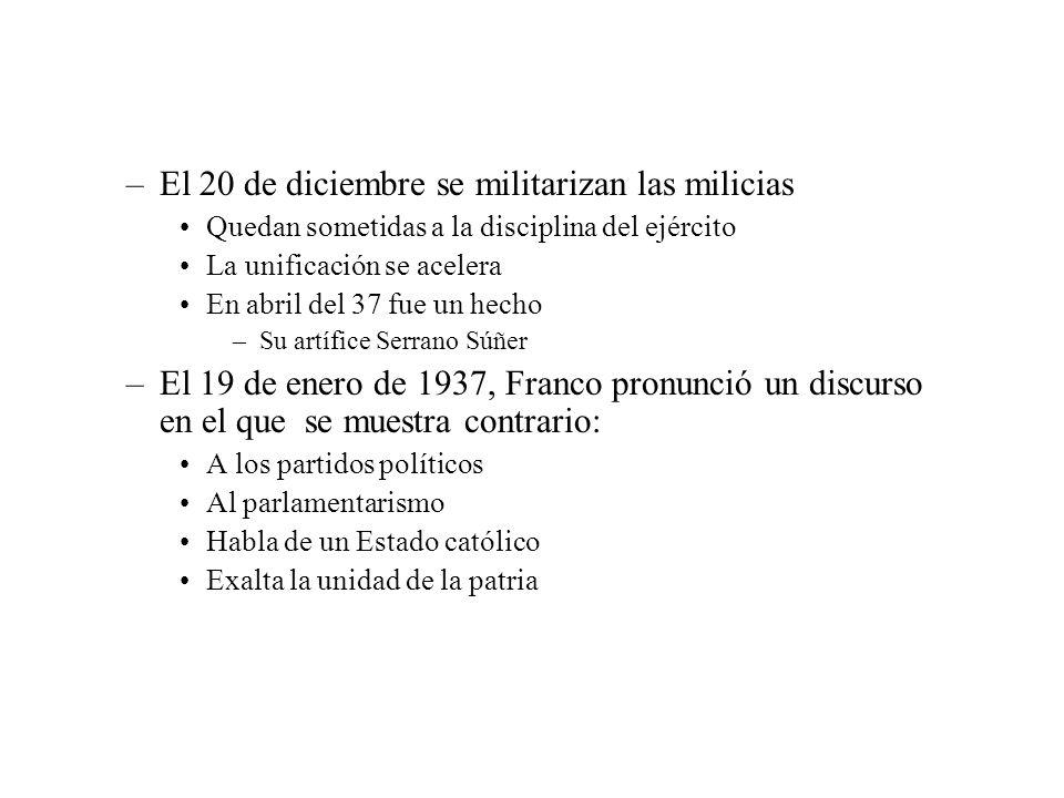 –El 20 de diciembre se militarizan las milicias Quedan sometidas a la disciplina del ejército La unificación se acelera En abril del 37 fue un hecho –