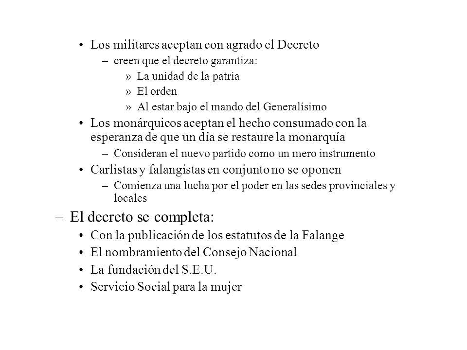 Los militares aceptan con agrado el Decreto –creen que el decreto garantiza: »La unidad de la patria »El orden »Al estar bajo el mando del Generalísim