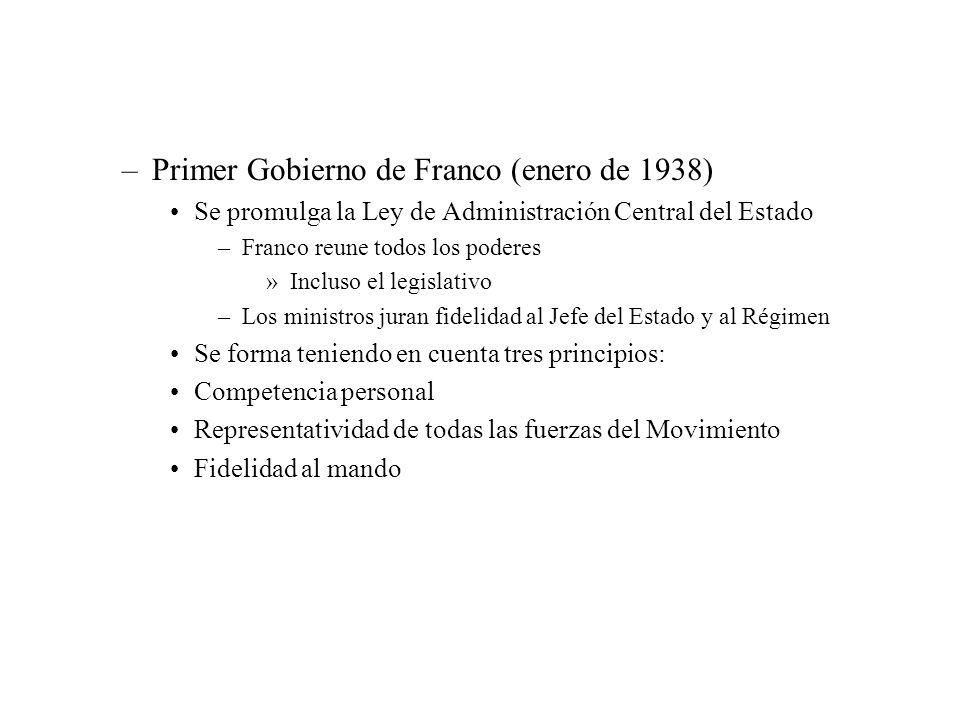 –Primer Gobierno de Franco (enero de 1938) Se promulga la Ley de Administración Central del Estado –Franco reune todos los poderes »Incluso el legisla