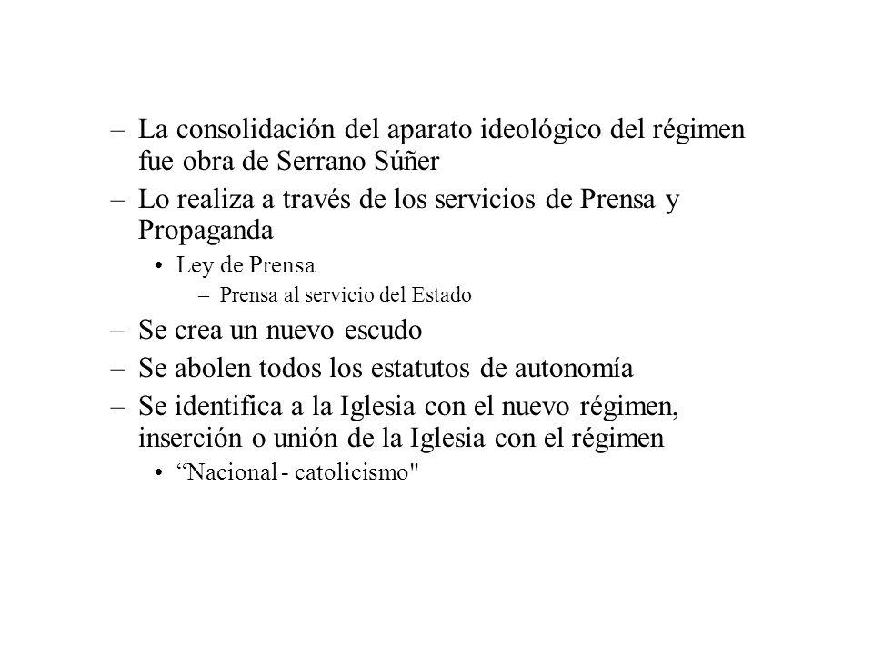 –La consolidación del aparato ideológico del régimen fue obra de Serrano Súñer –Lo realiza a través de los servicios de Prensa y Propaganda Ley de Pre