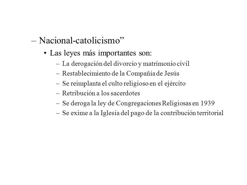 –Nacional-catolicismo Las leyes más importantes son: –La derogación del divorcio y matrimonio civil –Restablecimiento de la Compañía de Jesús –Se reim