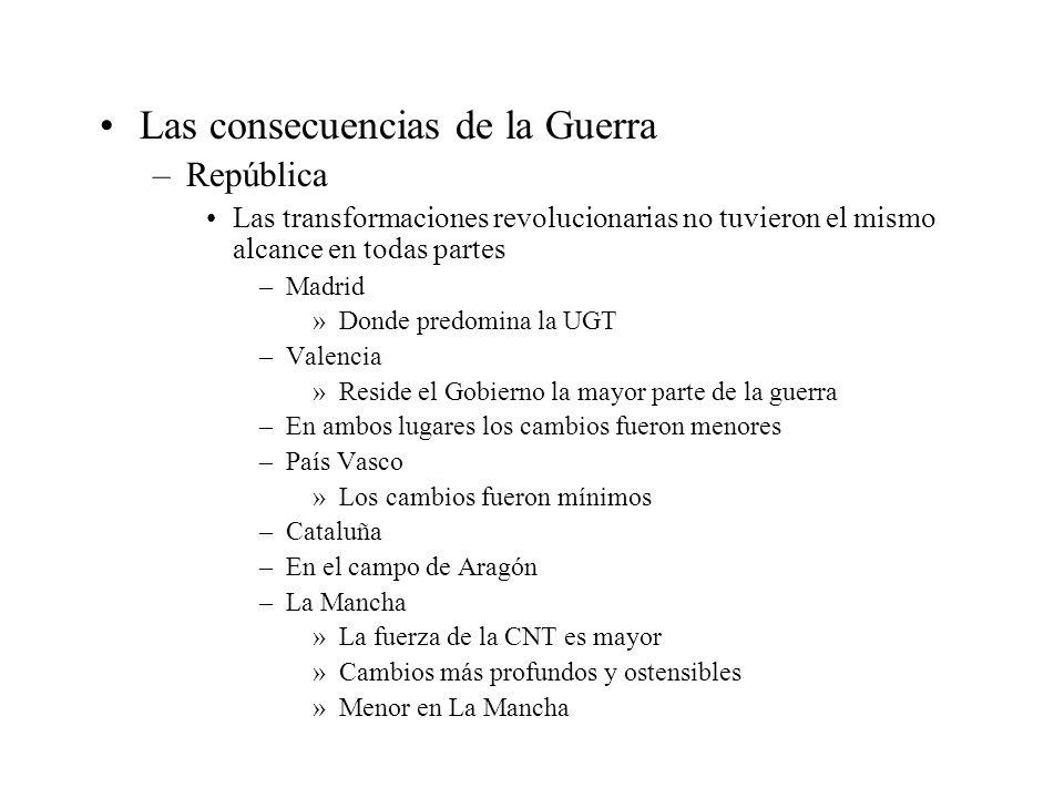 Las consecuencias de la Guerra –República Las transformaciones revolucionarias no tuvieron el mismo alcance en todas partes –Madrid »Donde predomina l