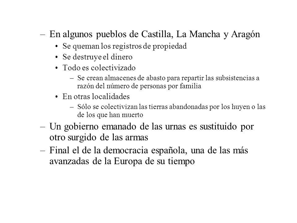 –En algunos pueblos de Castilla, La Mancha y Aragón Se queman los registros de propiedad Se destruye el dinero Todo es colectivizado –Se crean almacen