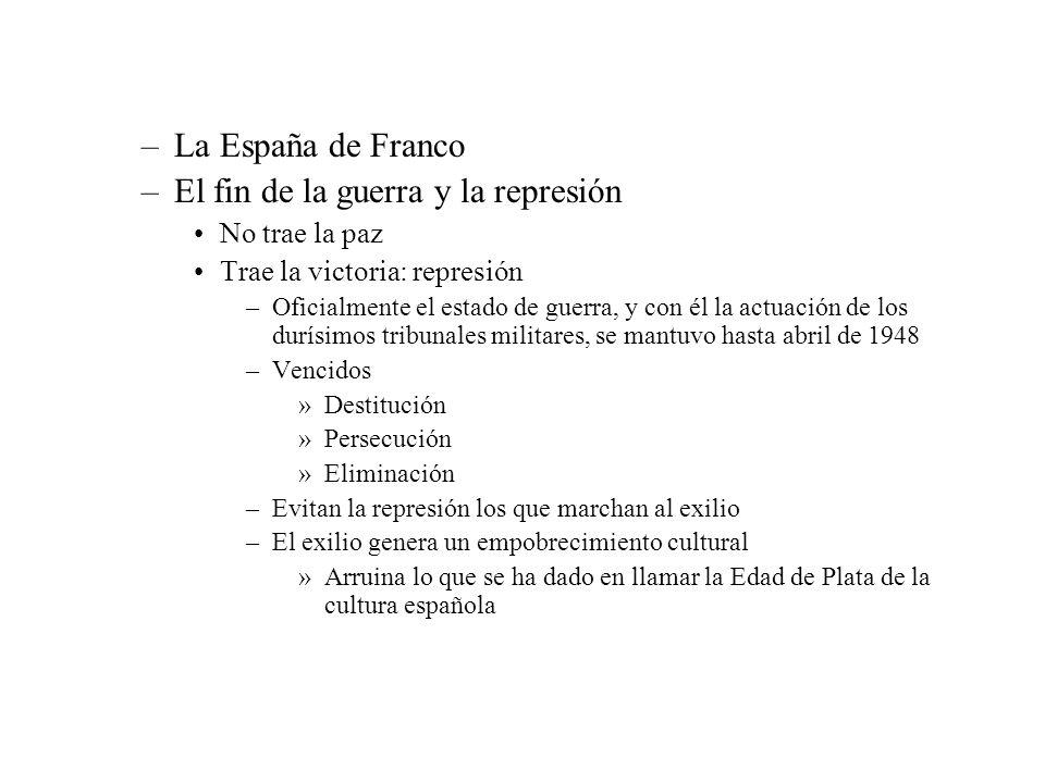 –La España de Franco –El fin de la guerra y la represión No trae la paz Trae la victoria: represión –Oficialmente el estado de guerra, y con él la act