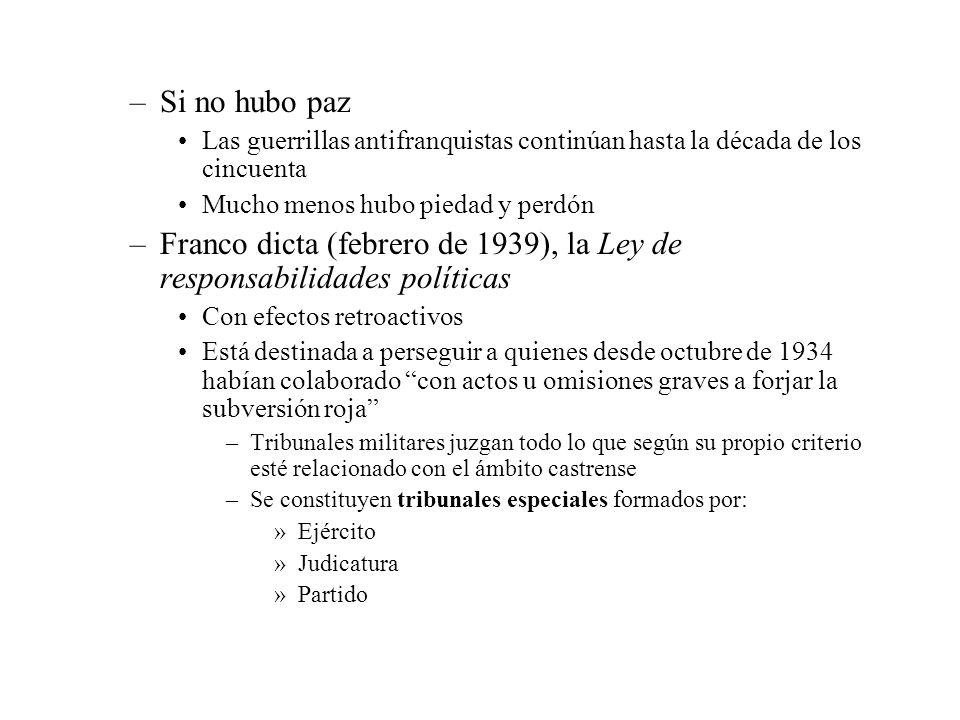 –Si no hubo paz Las guerrillas antifranquistas continúan hasta la década de los cincuenta Mucho menos hubo piedad y perdón –Franco dicta (febrero de 1