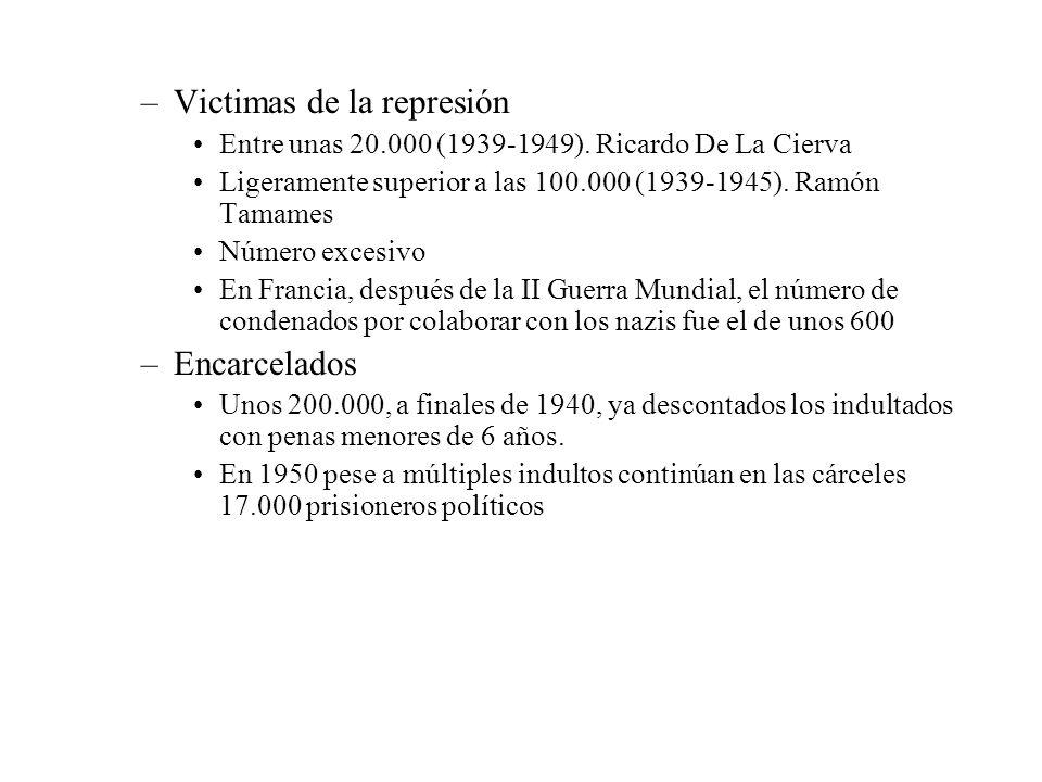 –Victimas de la represión Entre unas 20.000 (1939-1949). Ricardo De La Cierva Ligeramente superior a las 100.000 (1939-1945). Ramón Tamames Número exc