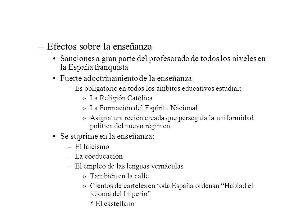 –Efectos sobre la enseñanza Sanciones a gran parte del profesorado de todos los niveles en la España franquista Fuerte adoctrinamiento de la enseñanza
