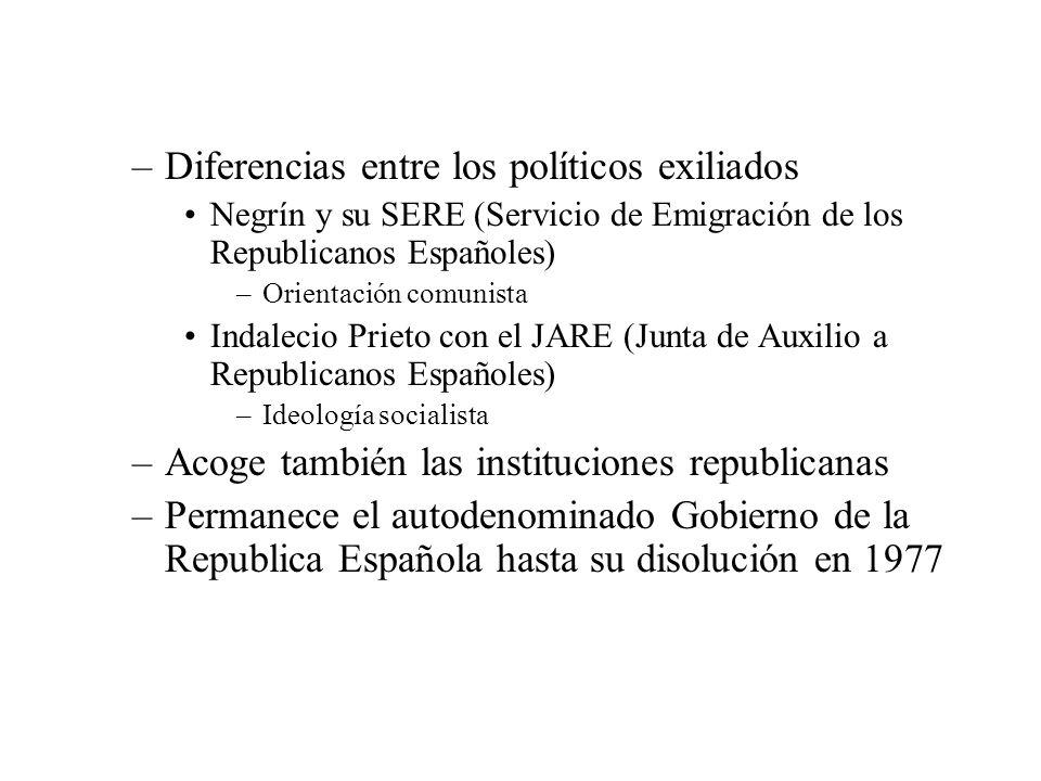 –Diferencias entre los políticos exiliados Negrín y su SERE (Servicio de Emigración de los Republicanos Españoles) –Orientación comunista Indalecio Pr