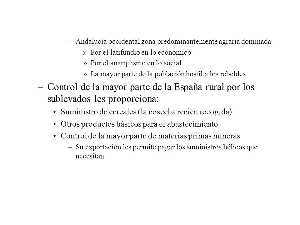 –Andalucía occidental zona predominantemente agraria dominada »Por el latifundio en lo económico »Por el anarquismo en lo social »La mayor parte de la