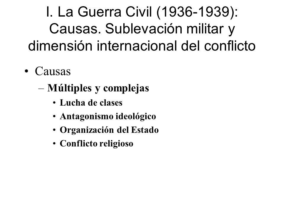 I. La Guerra Civil (1936-1939): Causas. Sublevación militar y dimensión internacional del conflicto Causas –Múltiples y complejas Lucha de clases Anta