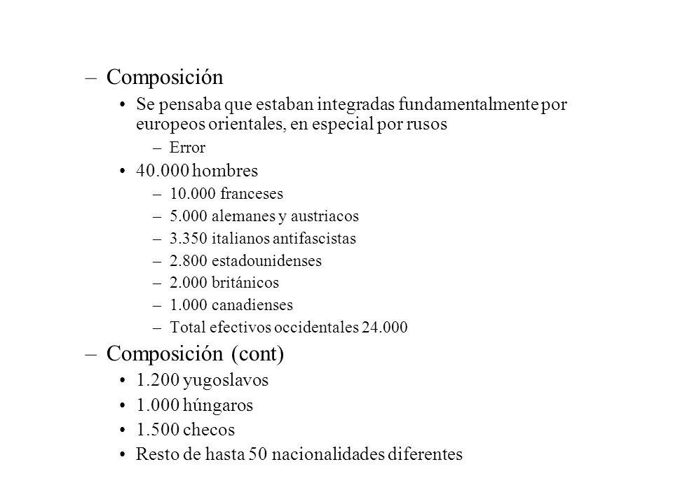 –Se organizan en 5 brigadas Numeradas de la XI a la XV Cada brigada consta de 3 a 4 batallones Compuesta por unos cinco mil hombres compuesto por diversos tipos de armamento –Se incluyen soldados españoles Más según avanza el conflicto –A mediados de 1937 sus efectivos ya eran en su mayoría estrictamente autóctonos –Representan una contribución no decisiva a los efectos militares –Moralmente muy importantes –Participan en todas las batallas importantes desde 1936 a 1938 –El 15 de diciembre de 1938 fueron despedidos con todos los honores en Barcelona por Negrín Su significación bélica había caído mucho La retirada se produce dentro del acuerdo negociado por el comité de no intervención Mussolini se compromete a retirar 10.000 hombres –Más o menos ficticiamente