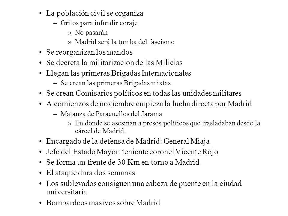 La población civil se organiza –Gritos para infundir coraje »No pasarán »Madrid será la tumba del fascismo Se reorganizan los mandos Se decreta la mil