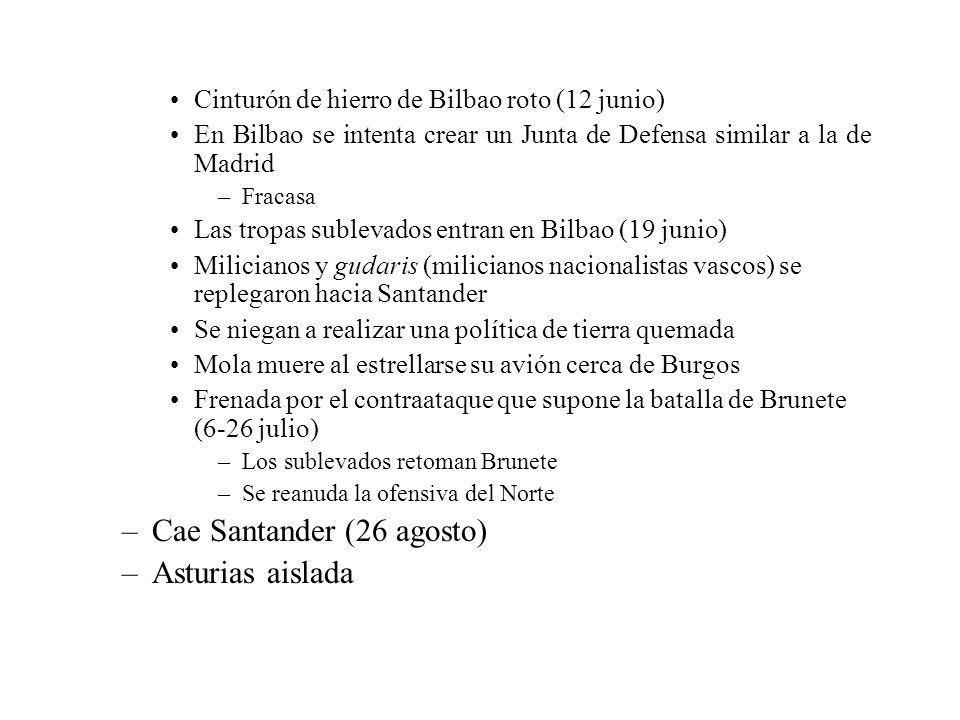 Cinturón de hierro de Bilbao roto (12 junio) En Bilbao se intenta crear un Junta de Defensa similar a la de Madrid –Fracasa Las tropas sublevados entr