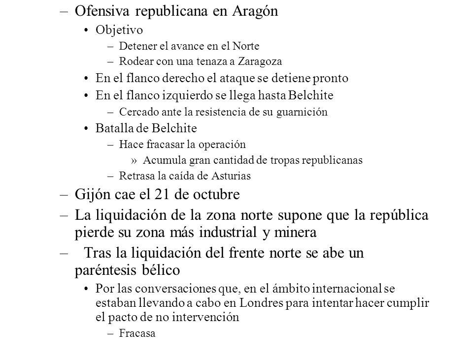 –Ofensiva republicana en Aragón Objetivo –Detener el avance en el Norte –Rodear con una tenaza a Zaragoza En el flanco derecho el ataque se detiene pr