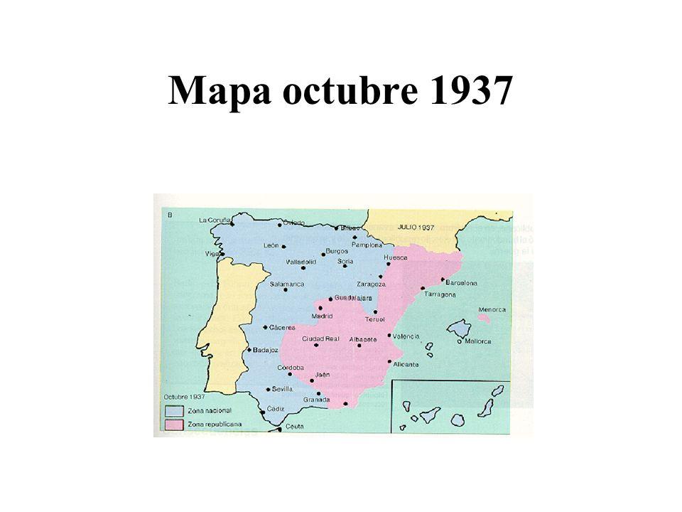 3ª Etapa: diciembre de 1937- noviembre de 1938 –La batalla de Teruel (15-dic-1937) Los republicanos atacan la ciudad hasta conseguir tomarla El contraataque de los sublevados se produce el 17-ene-1938 –Consiguen recuperarla un mes después Consecuencia –La ruptura del principal núcleo republicano en el frente Este –Franco ordena una ofensiva en todo el frente de Aragón El avance de los sublevados fue muy rápido –Gobierno republicano Prieto forma el ejército del Ebro Recibe armas a través de la frontera francesa –El avance de las tropas sublevadas prosigue Toman Lérida Vinaroz (15 abril) –Aislando a Cataluña del resto del territorio republicano