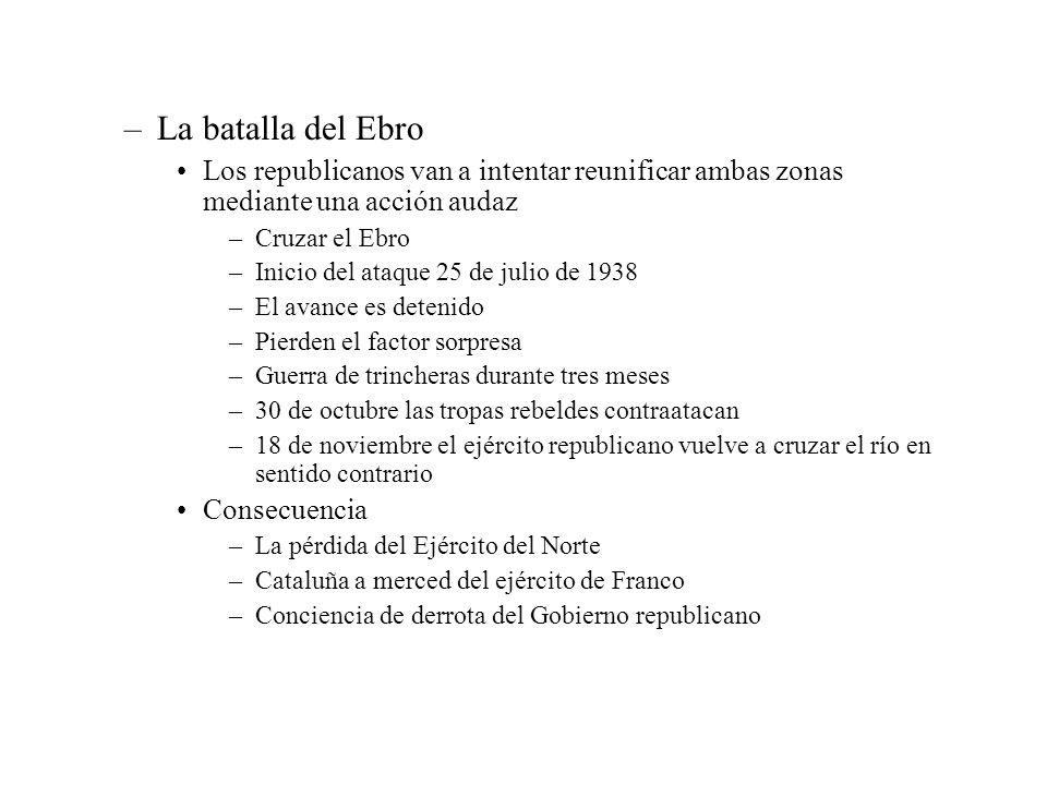 –La batalla del Ebro Los republicanos van a intentar reunificar ambas zonas mediante una acción audaz –Cruzar el Ebro –Inicio del ataque 25 de julio d