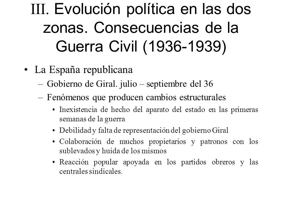 III. Evolución política en las dos zonas. Consecuencias de la Guerra Civil (1936-1939) La España republicana –Gobierno de Giral. julio – septiembre de