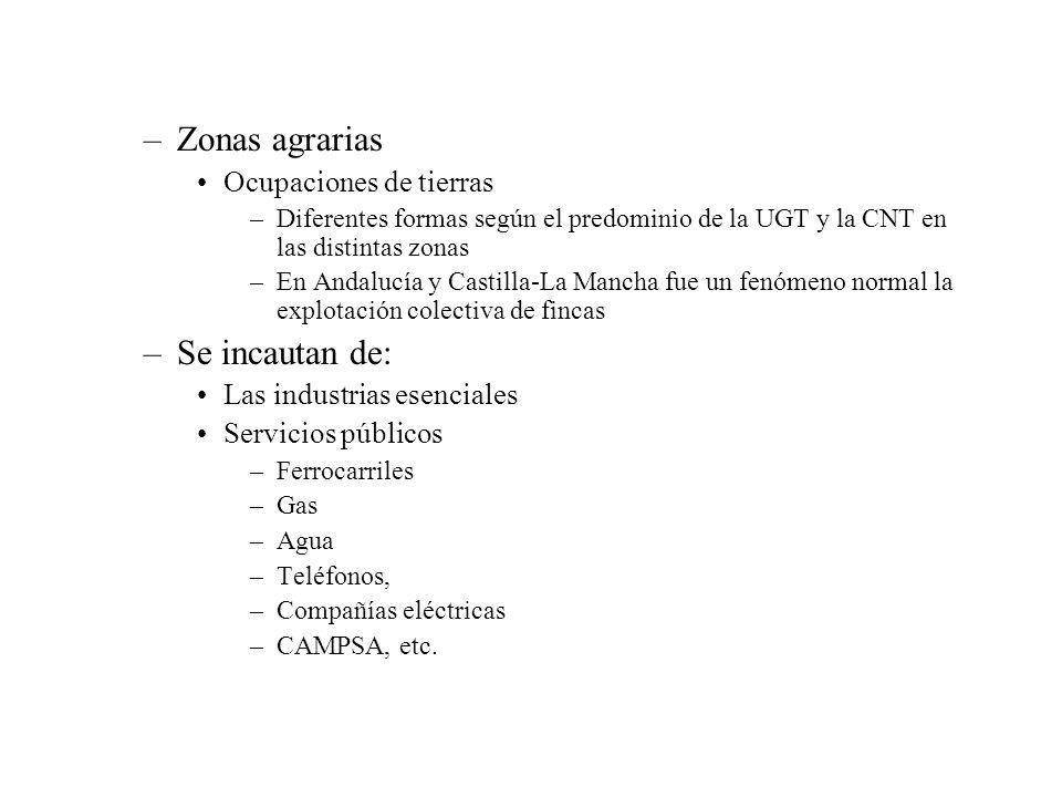 –Zonas agrarias Ocupaciones de tierras –Diferentes formas según el predominio de la UGT y la CNT en las distintas zonas –En Andalucía y Castilla-La Ma