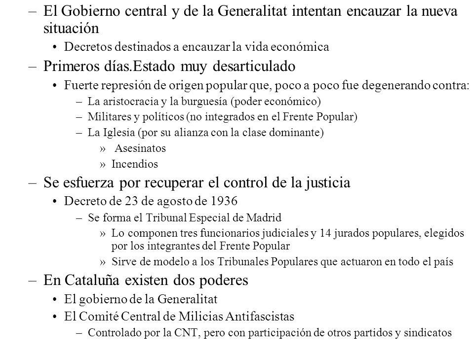 –El Gobierno central y de la Generalitat intentan encauzar la nueva situación Decretos destinados a encauzar la vida económica –Primeros días.Estado m