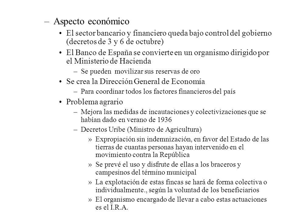 –Aspecto económico El sector bancario y financiero queda bajo control del gobierno (decretos de 3 y 6 de octubre) El Banco de España se convierte en u