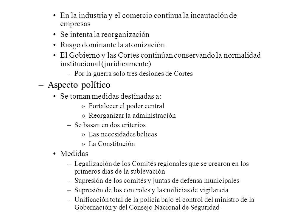 En la industria y el comercio continua la incautación de empresas Se intenta la reorganización Rasgo dominante la atomización El Gobierno y las Cortes