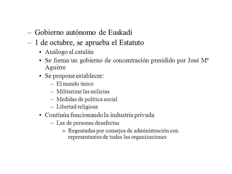 –Gobierno autónomo de Euskadi –1 de octubre, se aprueba el Estatuto Análogo al catalán Se forma un gobierno de concentración presidido por José Mª Agu