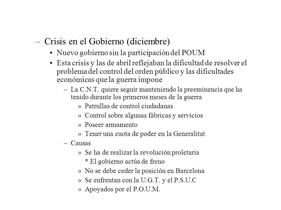 –Crisis en el Gobierno (diciembre) Nuevo gobierno sin la participación del POUM Esta crisis y las de abril reflejaban la dificultad de resolver el pro
